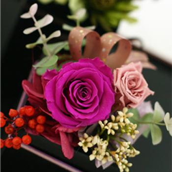 敬老の日 お花 フラワーギフト 誕生日プレゼント 女性 高級 バラ ローズ オリジナル アジサイ 和風 クリアケース付き プリザーブドフラワー -げんじ- 敬老 和風プリザーブドフラワー 源氏 ペッパーベリー 贈物