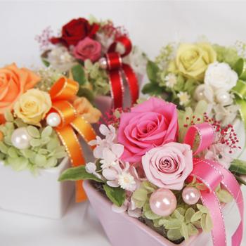 超激安特価 お花 フラワーギフト 誕生日プレゼント バラ ローズ 贈与 アジサイ クリアケース付き ホワイトデー プリザーブドフラワー ポワール ギフト