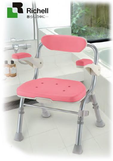 【送料無料】【リッチェル】折りたたみシャワーチェア【J型】 カラー:ピンク便利なシャワーフック付き入浴介護用 風呂椅子