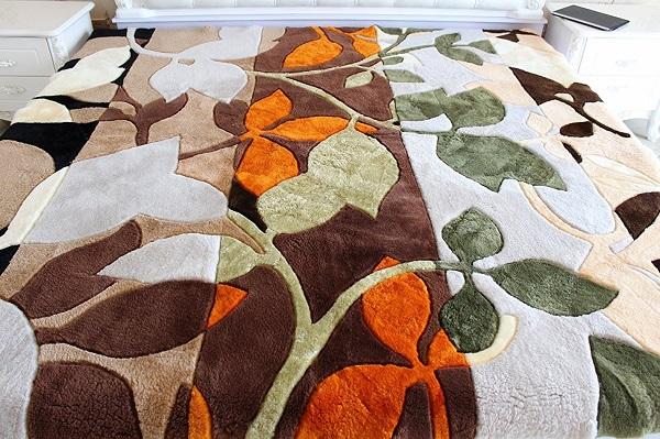豪華絢爛 ムートンラグ (約)200x200cm 正方形 モダン リーフ柄 【送料無料 ※沖縄・離島地域除く】 高級ラグマット ムートンカーペット 短毛 絨毯 リーフデザイン オーストラリア産原皮を使用 欧風 北欧 あったか もこもこ