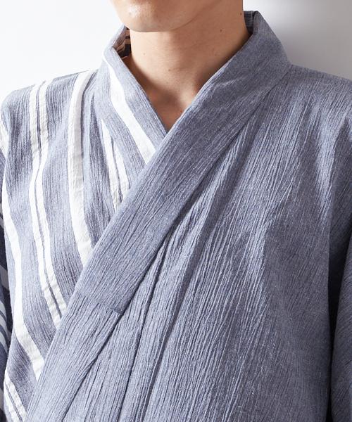 2ada04d72fe3c8 楽天市場】メンズ 浴衣 単品「インディゴ染め風片身合わせ」【ふりふ ...