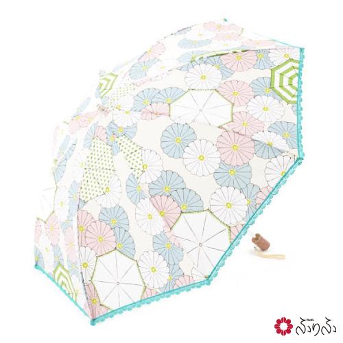 白いパラソル日傘【ふりふオリジナル】【母の日ギフト】暑さ対策 日よけ UVカット レディース 日傘 折りたたみ 日傘 コンパクト日傘 携帯 折畳み 折畳み式 おりたたみ 花柄 椿柄 和柄 ふりふ