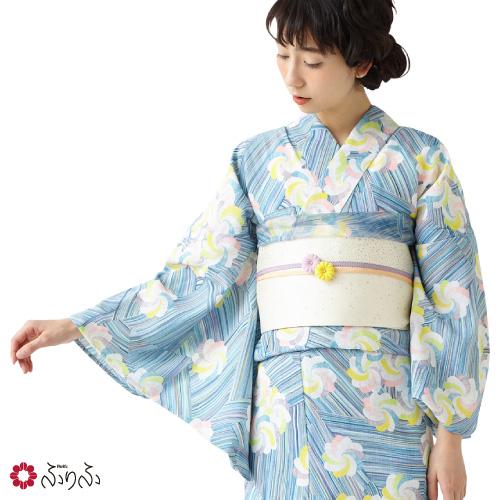 浴衣「ねりきマーブル」 ふりふオリジナル 日本製 マーブル染め 粘土染料 ゆかた 総柄 和柄 リボン 幾何学模様 レトロ モダン かわいい きれい お洒落 華やか シンプル 大人 しっとり