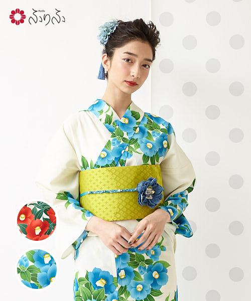 浴衣「garden camellia」浴衣 単品 ふりふオリジナル 日本製 ゆかた レディース 女性 総柄 和柄 和風 花柄 椿 レトロ モダン かわいい きれい お洒落 華やか シンプル 大人 しっとり 大正ロマン ふりふ 20代 30代 40代 大人 粋