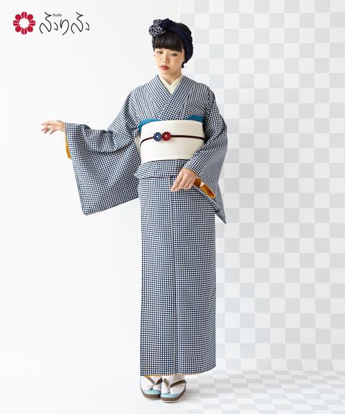 小紋 帯セット「チェックきものセット」着物 kimono 2点セット 半幅 半幅帯 半巾 セット 洗える着物 女性 結婚式 入学式 卒業式 2次会 初詣 仕立て上がり フリーサイズ レトロモダン 個性的 幾何学 華やか 和柄 和風 チェック柄 格子 大正ロマン