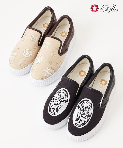 刺繍スリッポンふりふオリジナル スリッポン 刺繍 レディース 靴 シューズ スニーカー 厚底 カジュアル 普段履き キャンバス素材 合皮
