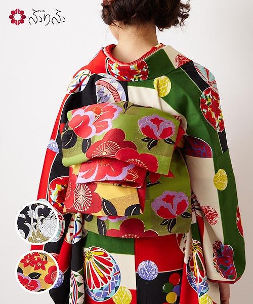 切替花刺繍袋帯<br>ふりふセレクト レディース 袋帯 おび オビ 振袖 着物 きもの kimono 和柄 和風 成人式 結婚式 入学式 卒業式 パーティー 2次会 仕立て上がり プレタ フリーサイズ レトロ モダン 和色 大正ロマン