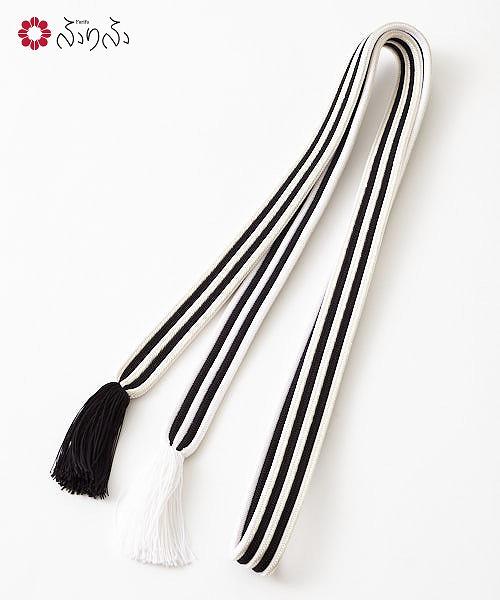 ストライプ帯締めふりふ 帯締め 帯飾り 平組 編み組み 国産 日本製 正絹 シルク 絹100% バイカラー ストライプ ライン モノトーン 着物 きもの 小紋 普段着 黒 白 和装小物 大正ロマン