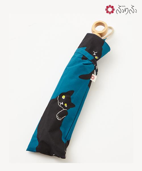 ねこねこねこ日傘<br>ふりふ オリジナル 猫 ねこ 暑さ対策 日よけ UVカット レディース 日傘 折りたたみ コンパクト 携帯 お花柄 折畳み式 黒 和柄 和風 上品 大人女子 母の日 敬老の日 プレゼント 花以外 ギフト 実用的