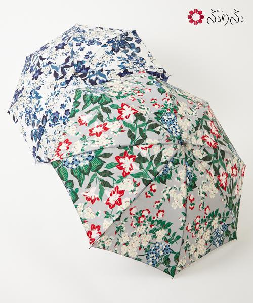 ビビデリボン日傘<br>ふりふ オリジナル 暑さ対策 日よけ UVカット レディース 日傘 折りたたみ コンパクト 携帯 お花柄 折畳み式 黒 和柄 和風 上品 大人女子 母の日 敬老の日 プレゼント 花以外 ギフト 実用的