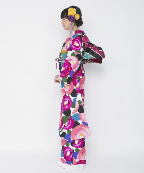ふりふセレクト振袖・「デッサン椿」仕立て上がり・フリーサイズ・椿・つばき・花柄・レトロ・モダン・古典