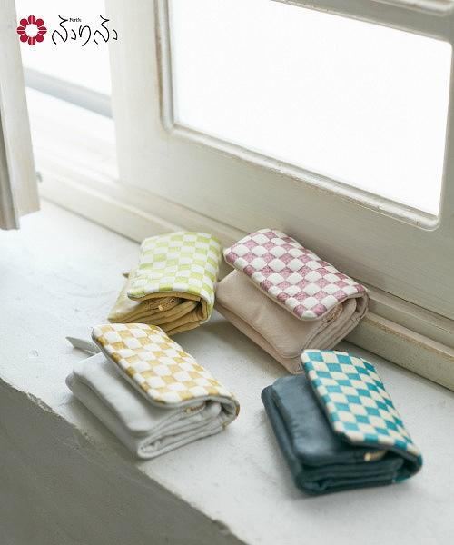 「市松三つ折り財布」【レディース 財布 本革 日本製 三つ折り  コンパクト 市松 型押し友禅 赤 黄 緑 青 和装 着物にも】