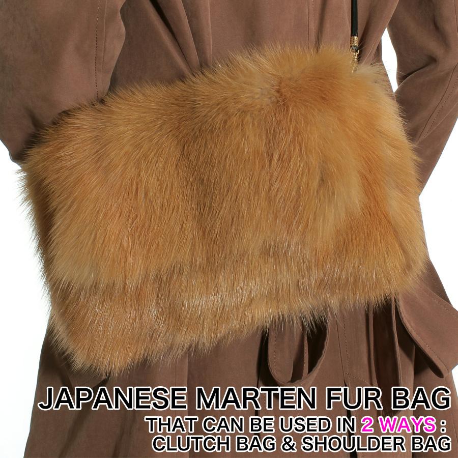【ファーバッグ】天然のイエローゴールドカラーのファーを使用したリアルファーBAG