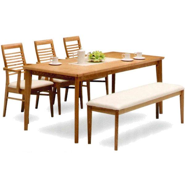 食卓5点セット ダイニングセット テーブル チェア ベンチ「爽風」 170cm幅 送料無料
