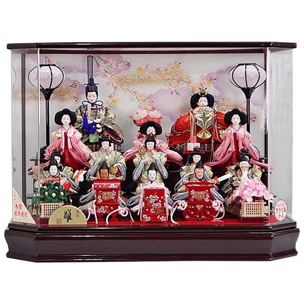 【エントリーでポイント最大33倍!】 雛人形 15人飾り ひな人形 三段飾り 雛飾り 節句人形 初節句 ケース飾り アクリルケース お雛様