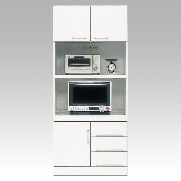 開梱設置 送料無料食器棚 レンジ台 ハイレンジボード80cm幅 「クリスタル3」 国産