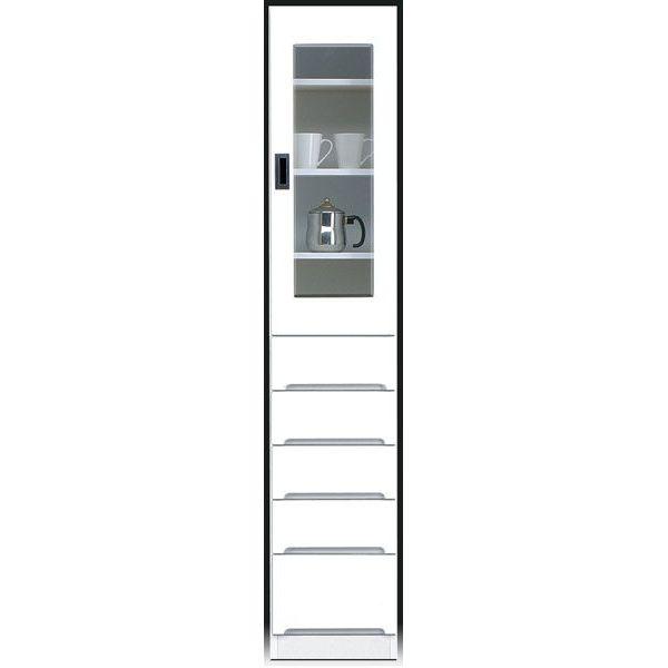 \ポイント増量&お得クーポン/食器棚 完成品 隙間家具スリム 上ガラス扉 下引出し35cm幅 ホワイト「スペース 35-B」 送料無料