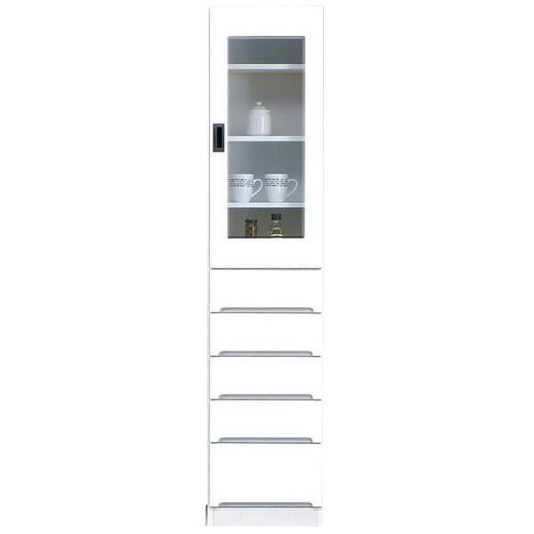 食器棚 完成品 隙間家具スリム 上ガラス扉 下引出し40cm幅 ホワイト「スペース 40-B」送料無料