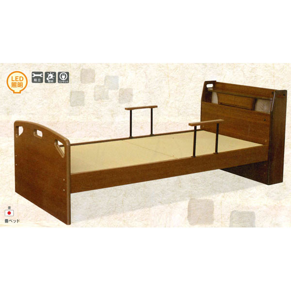 組み立てします 送料無料 開梱設置畳みベッド 国産畳 手すり2本付きシングルタイプ TFB-290