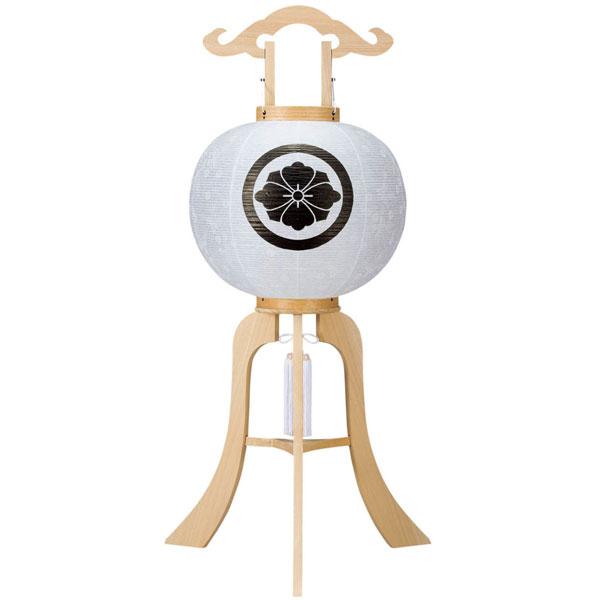 盆提灯 ちょうちん 行灯 大内行灯12号 「木製柾紋天」 (電気コード式)家紋入れサービス 8449-12-002