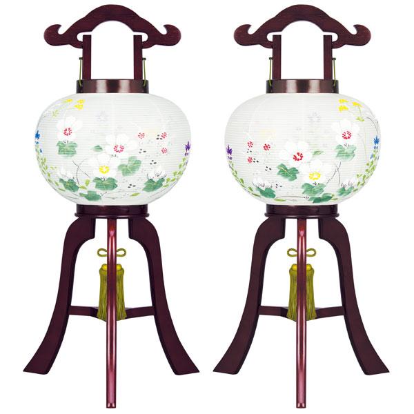 お盆には、故人を偲んで盆提灯を飾りましょう。 盆提灯 行灯 ミニ行灯 10号美吉野絹二重対絵 電気コード式 対入 8431-10-468W