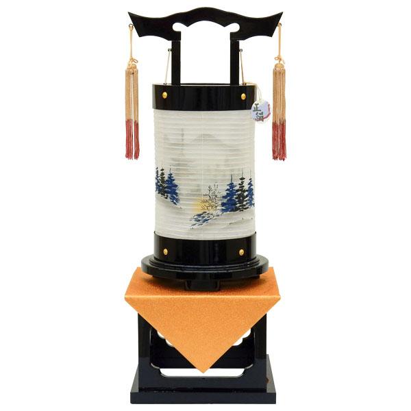 お盆には、故人を偲んで盆提灯を飾りましょう。 盆提灯 霊前灯 愁霊燈 山水 絹二重絵入電気コード式 8730-36-338