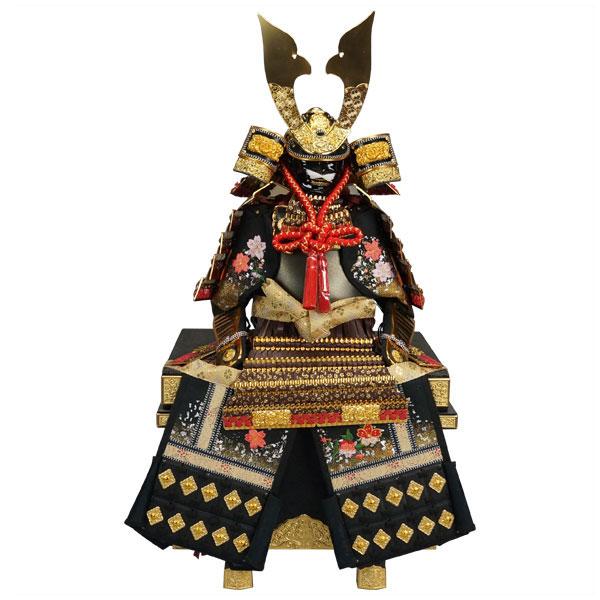 【ポイント10倍】 鎧飾り 鎧平飾り 五月人形 五月飾り12号 厚金本革金箔小桜茶威鎧 龍玉作