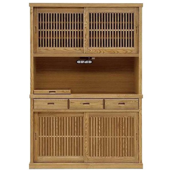 オープン食器棚 130cm幅 引き戸 レンジ台レンジボード 完成品和風 国産 送料無料 開梱設置