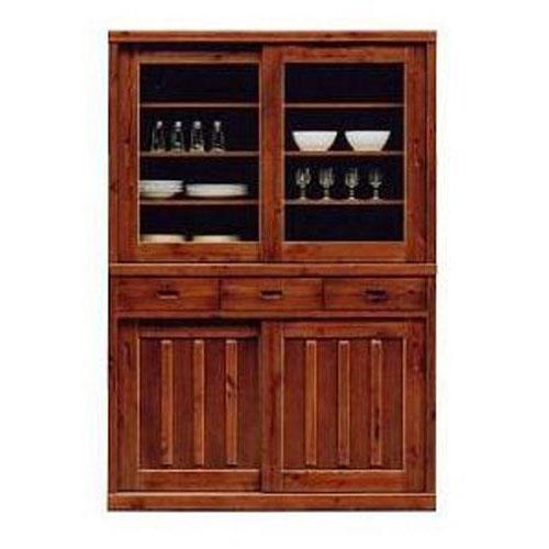 送料無料 開梱設置食器棚 引き戸 完成品国産 120cm幅 高さ175cm パイン材