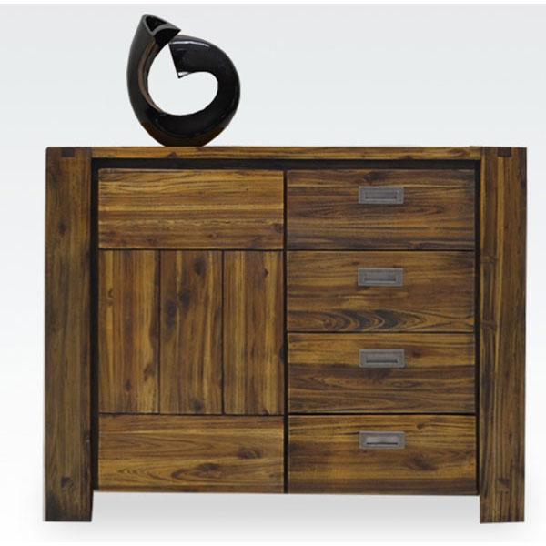サイドボード キャビネット飾り棚 完成品ダメージ仕上げ 115cm幅送料無料 開梱設置