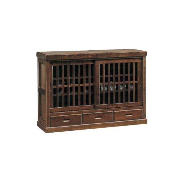 送料無料 開梱設置サイドボード キャビネット 完成品国産 飾り棚 民芸和風框造り 120cm幅