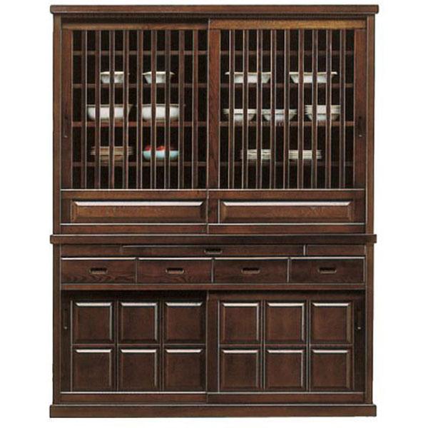 食器棚 引き戸 150cm幅框造り 民芸 和風 国産送料無料 開梱設置