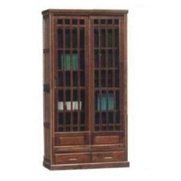 送料無料 開梱設置本棚 書棚 完成品 框造り90cm幅 国産 民芸調
