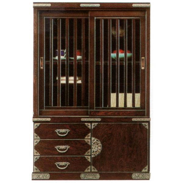 キャビネット 90cm幅 飾り棚 完成品水屋 和風民芸 送料無料 開梱設置