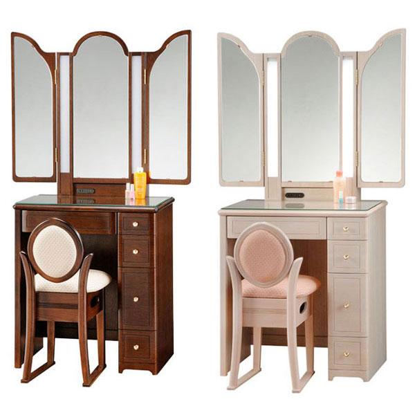 【開梱設置】 ドレッサー 化粧台 鏡台 三面鏡国産 イス付 2色対応「アリス」 三面収納