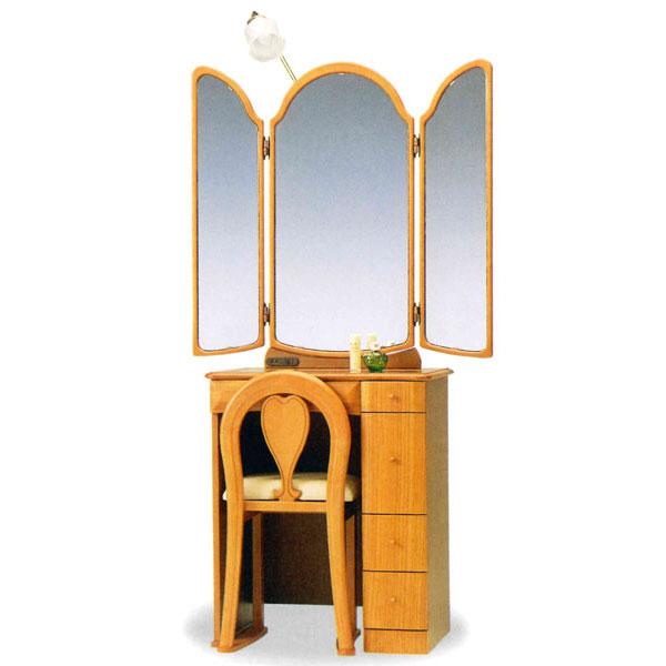 【開梱設置】 ドレッサー 化粧台 鏡台 三面鏡国産 イス付 2色対応「デュエット」 24半三面収納