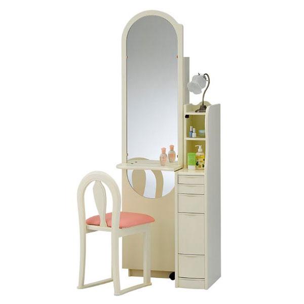 【開梱設置】 ドレッサー 化粧台 鏡台 姿見国産 収納付 ホワイト「エミリー」 一面収納