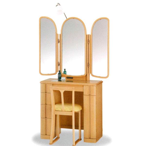 【開梱設置】 ドレッサー 化粧台 鏡台 三面鏡国産 イス付 2色対応「ジャスミン」 30半三面収納