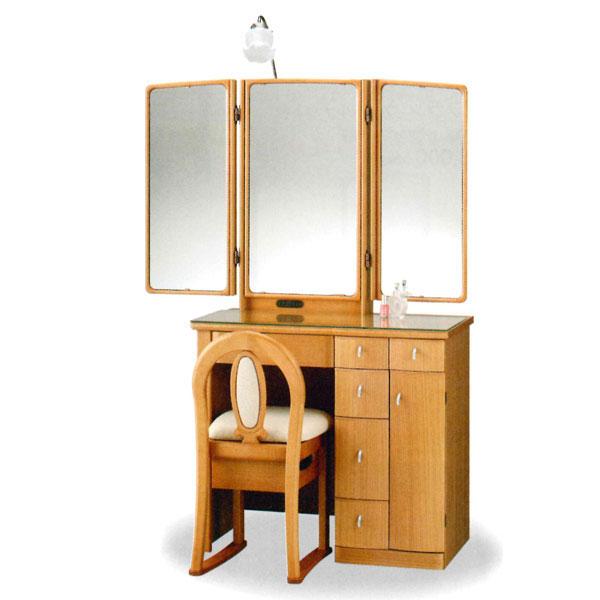 【開梱設置】 ドレッサー 化粧台 鏡台 三面鏡国産 イス付 2色対応「カレン80」 30半三面収納