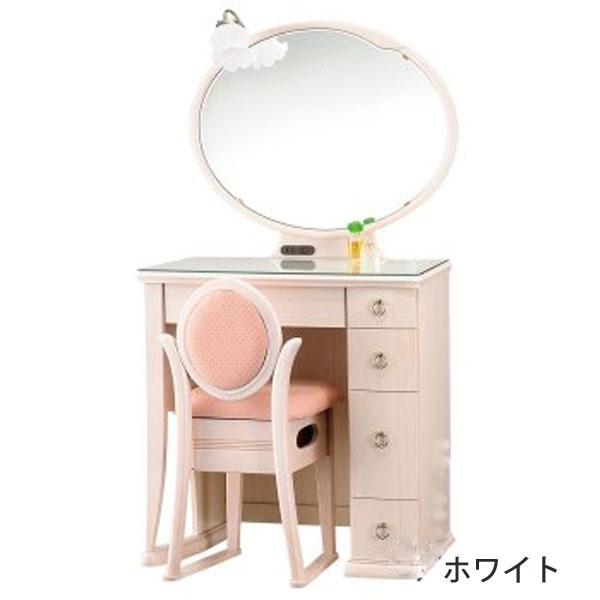 【開梱設置】 ドレッサー 化粧台 鏡台 一面鏡国産 収納イス付 2色対応「ポエム」 20一面収納