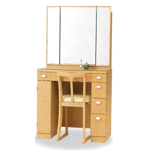 【開梱設置】 ドレッサー 化粧台 鏡台 三面鏡国産 イス付 4色対応「シナモン」 33半三面収納