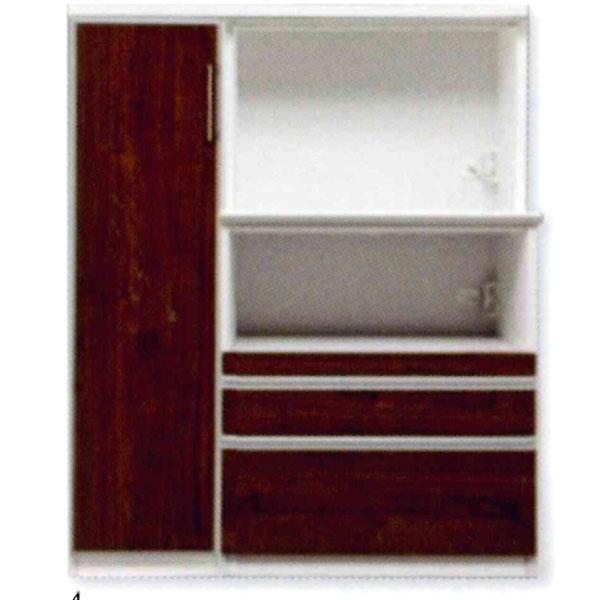 オープン食器棚 開き戸 重ねタイプレンジボード 完成品 120cm幅 「サントス」 ミドルタイプ 開梱設置 送料無料