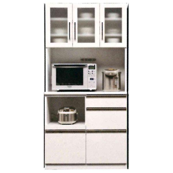 食器棚 完成品 オープン食器棚レンジ収納 90cm幅 カラー対応2色「ココア」 開梱設置 送料無料