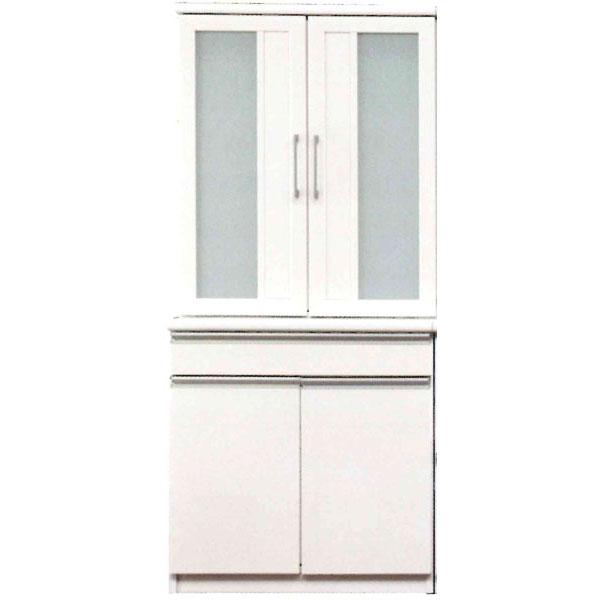 ロータイプ食器棚 完成品国産 80cm幅 「ドレス」開梱設置 送料無料