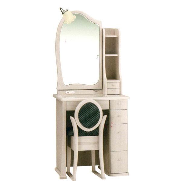 【開梱設置】 ドレッサー 化粧台 鏡台 1面鏡イス付 ナラ材 2色対応「マシェリア」 1面