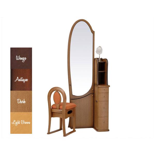 【開梱設置】 ドレッサー 化粧台 鏡台 姿見収納イス付 ナラ材 5色対応「シャロン」 19一面姿見収納