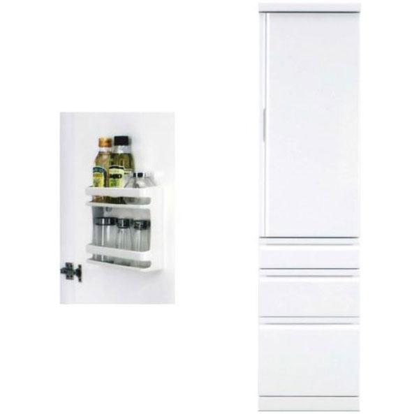 隙間家具 キャビネット「アクア」 45cm幅 ホワイト 板戸送料無料