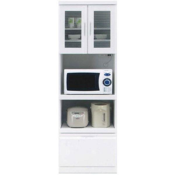 \ポイント増量&お得クーポン/レンジボード オープン食器棚「アクア」 60cm幅 ホワイト開梱設置送料無料