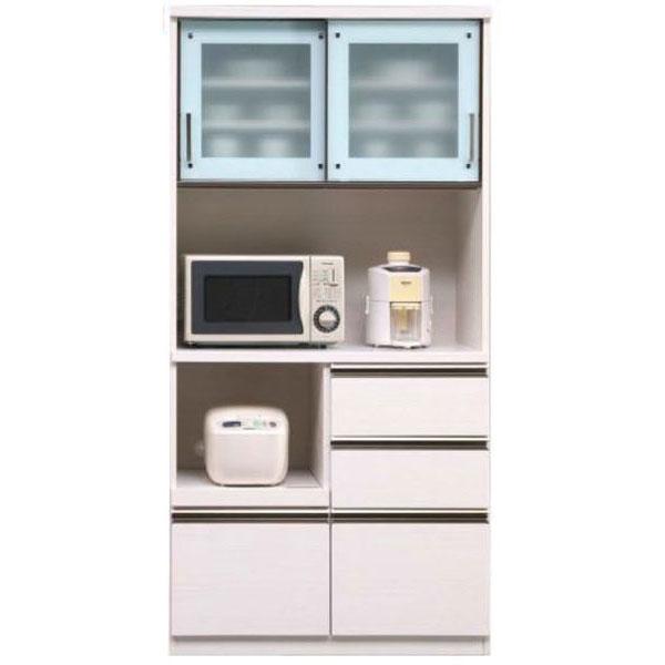 【ポイント増量&お得クーポン】 キッチンボード レンジボード 食器棚「ダラス」 90cm幅 2色対応 開梱設置送料無料