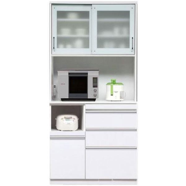 \ポイント増量&お得クーポン/キッチンボード レンジボード 食器棚「マーセル」 100cm幅 2色対応 開梱設置送料無料